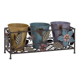Metal Planter Stand with Colorful Pots
