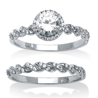 Ultimate CZ 1 1/5ct TGW Cubic Zirconia Bridal Style Ring Set