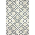 nuLOOM Handmade Squares Grey New Zealand Wool Rug (5' x 8')