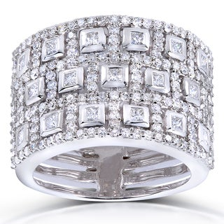 Annello 14k White Gold 1ct TDW Bezel Pave Diamond Band (H-I, I1-I2)