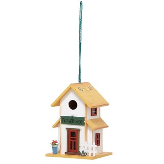 Wooden Flower Shop Hanging Birdhouse