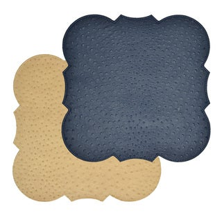 Reversible Ostrich Navy/ Tan Faux Leather Placemat (Set of 2)
