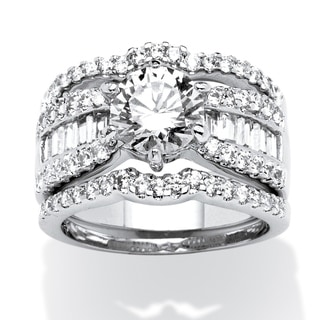 Ultimate CZ 3 3/4ct TGW Cubic Zirconia 3-piece Ring Bridal Set