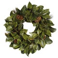 Magnolia Leaf 24-inch Wreath with Pine Cones