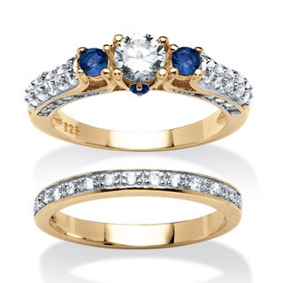 Ultimate CZ 1 1/5ct TGW Cubic Zirconia and Blue Crystal 2-piece Ring Set