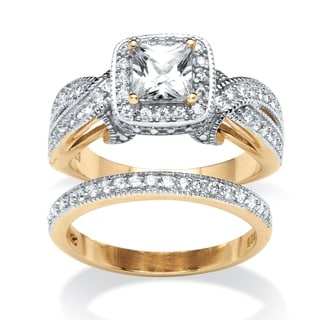 Ultimate CZ 18k Gold Over Sterling Silver 1.78 TCW Princess Cut Cubic Zirconia 2-piece Ring Set