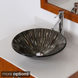 Elite Modern Tempered Glass Bathroom Vessel Sink with Faucet Combo