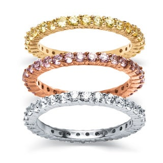 PalmBeach 3 Piece 3.06 TCW Pink, Champagne and White Cubic Zirconia Eternity Rings Set in Tri-Tone Classic CZ