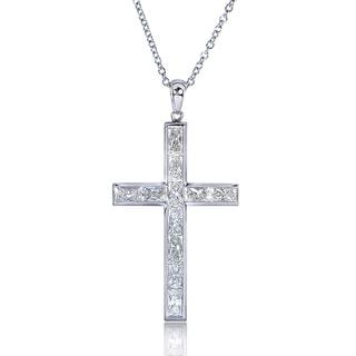 Annello 14k White Gold 2 1/3ct TDW Diamond Cross Necklace (H-I, VS1-VS2)
