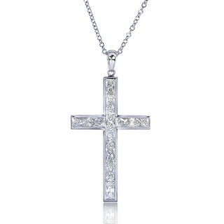 Annello 14k White Gold 2 1/3ct TDW Diamond Cross Necklace (H-I, VS1-VS2)