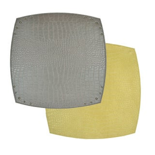 Reversible Faux Leather Crocodile Grey/ Gold Placemat (Set of 2)
