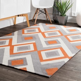 nuLOOM Handmade Geometric Triangle Orange Rug (7'6 x 9'6)