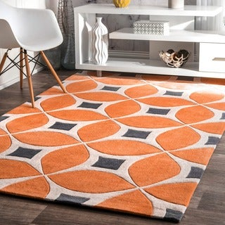 nuLOOM Handmade Modern Disco Orange Rug (7'6 x 9'6)