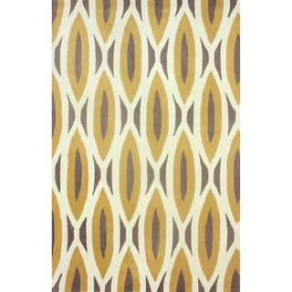nuLOOM Handmade Oblong Geometric Brown Rug (7'6 x 9'6)