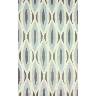 nuLOOM Handmade Oblong Geometric Grey Rug (7'6 x 9'6)