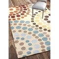 nulOOM Hanmade Modern Abstract Rings Beige Rug (5' x 8')