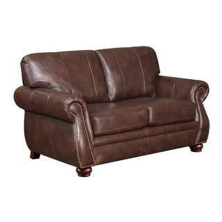 At Home Designs Monterey Natural Brown Leather Loveseat