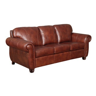 At Home Designs Mendocino Burnt Sienna Leather Sofa