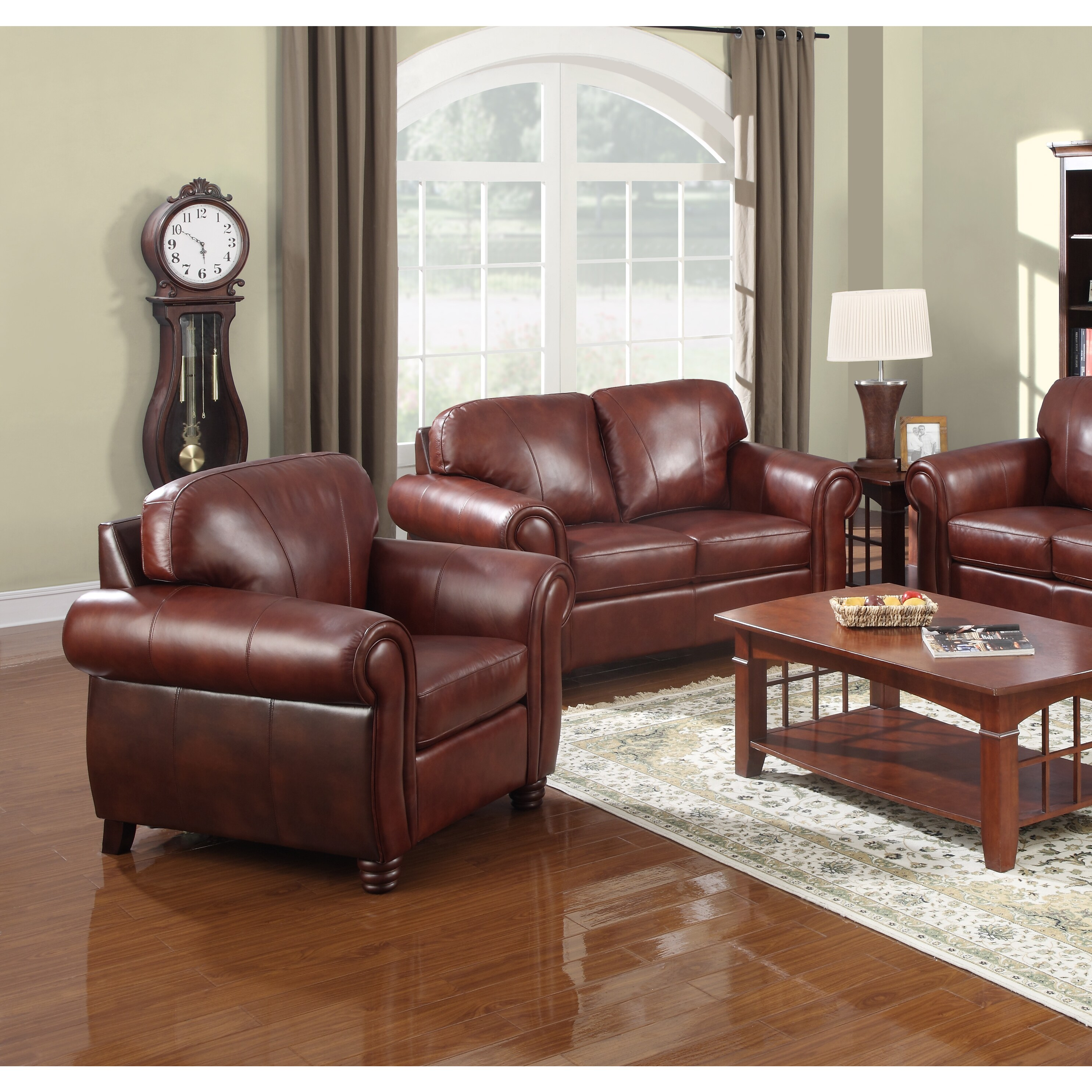 Overstock.com At Home Designs Mendocino Burnt Sienna Leather Chair at Sears.com