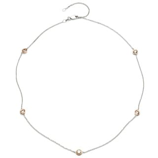 14k Two-Tone Gold 1ct TDW Round Bezel Station By-the-Yard Diamond Necklace