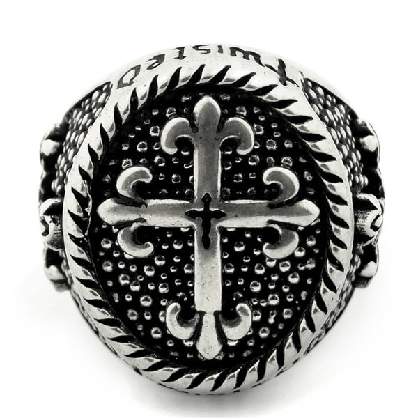 Twisted Blade Silver Round Fleur De Lis Cross Ring With Thin Cross