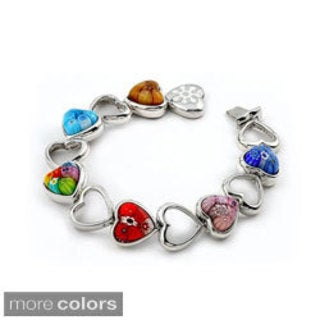 Millefiori Multi Color Cut Out Heart Bracelet