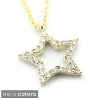 Sterling Silver Cubic Zirconia Star Pendant Necklace