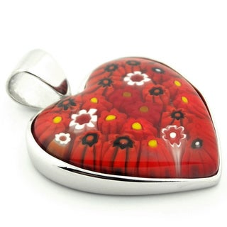 Plutus Sterling Silver Large Red Millefiori Heart Pendant