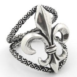 Plutus Sterling Silver Fleur De Lis Ring
