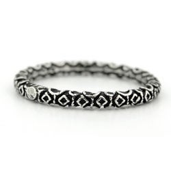 Plutus Sterling Silver Decorated Stackable Band Ring