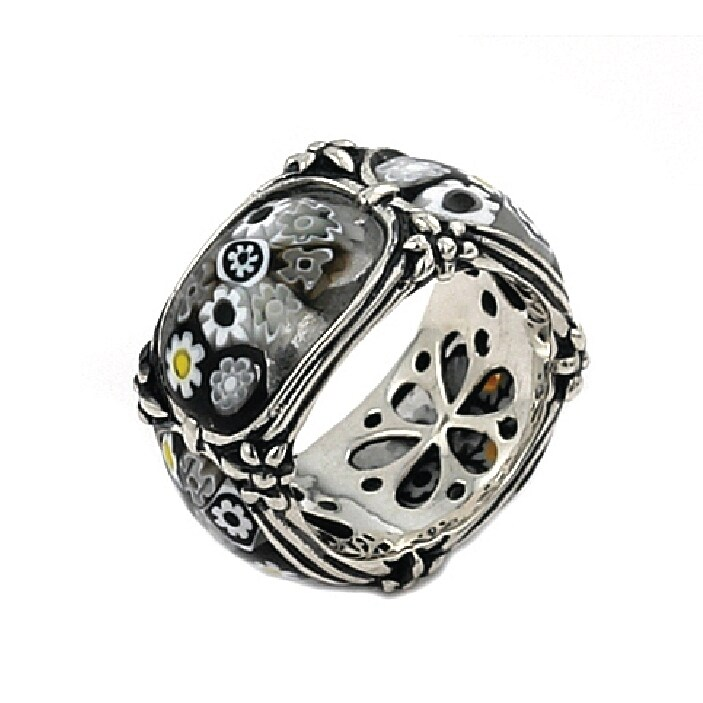 Millefiori Segmented Band Ring With Blackend Flower Accents