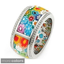 Plutus Sterling Silver Millefiori Segmented Band Ring