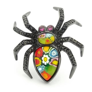 Plutus Black Rhodium Plated Sterling Silver Multicolor Millefiori and CZ Spider Ring