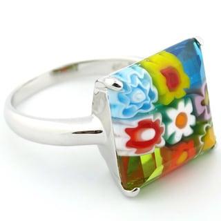 Plutus Sterling Silver Multicolor Square Faceted Millefiori Ring
