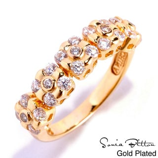 Sonia Bitton Platinum Or Gold Plated Sterling Silver Cubic Zirconia Ring