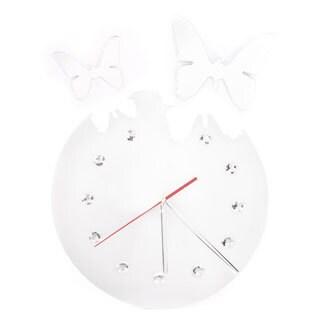 Mirror Butterfly Black Rhinestone Jewels Clock