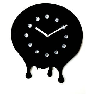 Hot! Rhinestone Jewels Black Clock