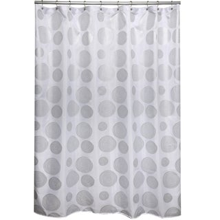 Cirque Silver Geometric Shower Curtain
