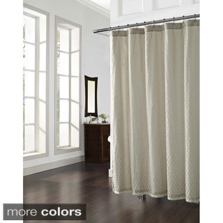 Lena Geometric Knit Lace Shower Curtain