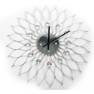 24-inch Silver Metal Sunflower Clock