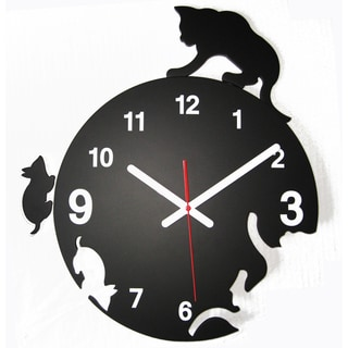 Modern Time Chaser Kitty Cat Clock