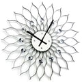 Mid-century Modern 24-inch Black Metal Sunflower Clock