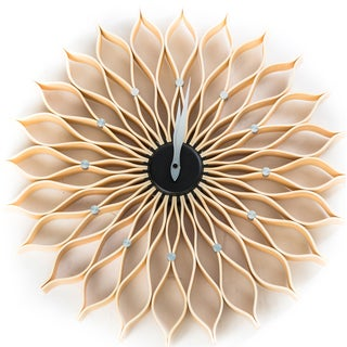 Mid century modern George Nelson 19-inch Natural-style Wood Sunflower Clock