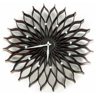Mid-century Modern HGTV 19-inch George Nelson Era Bent Wood Sunflower Clock