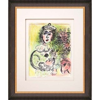 "Marc Chagall ""The Clown with Flowers"" Original Lithograph"