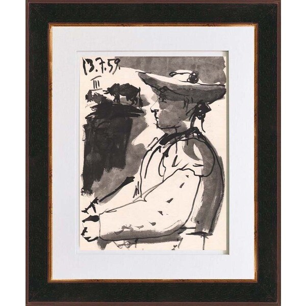 Pablo Picasso 'Number 3 dated 13/7/59' Bichromie Framed