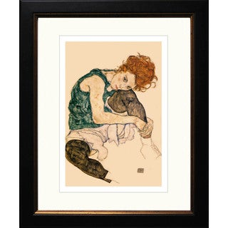 """Egon Schiele """"Seated Woman with Bent Knee"""" Giclee Framed"""