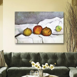 Paul Cezanne 'Fruit on a Cloth' Gallery-Wrapped Canvas Art