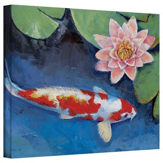 Michael Creese 'Koi and Water Lily' Gallery-Wrapped Canvas Art