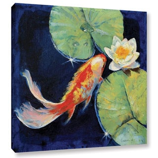 Michael Creese 'Koi and White Lily' Gallery-Wrapped Canvas Art
